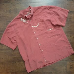 Bamboo Cay Button Down Embroidered Shirt Sz Large